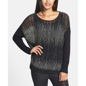EILEEN FISHER Wool Linen Blurred Stripes Sweater